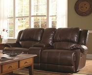 Brown Bonded Leather Upholstered Motion Love Seat 601182