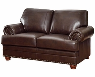 Brown Bonded Leather Upholstered Rolled Arms Love Seat 504412