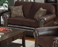 Brown Chenille Fabric/Vinyl Love Seat with Nailhead Trim 504042