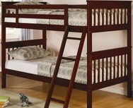 Brown Cherry Finish Twin Slat Bunk Bed 460231
