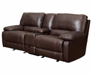 Brown Cognac Leather Reclining Motion Love Seat 600021L