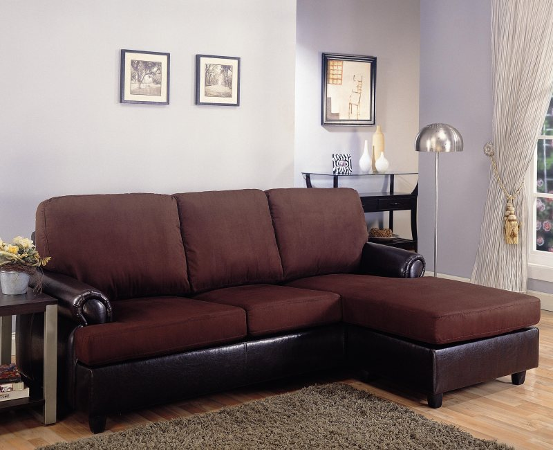 Brown Dual Tone Microfiber And Vinyl Upholstered Sectional