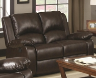 Brown Leather-Like Vinyl upholstered Double Reclining Love Seat 600972