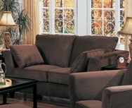 Brown Love Seat with Flair Tapered Arms and Accent Pillows 500232CHO