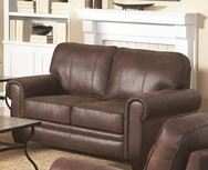 Brown Microfiber Upholstered Loveseat with Rolled Arms 504202