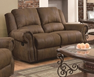 Brown Microfiber Upholstered Reclining Love Seat with Nailhead Studs 650152