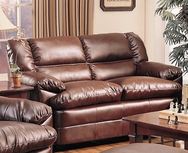 Brown Overstuffed Leather Upholstered Love Seat with Pillow Arms 501912