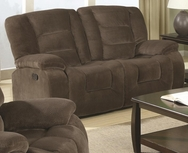 Brown Padded Velvet Motion Reclining Love Seat 600992