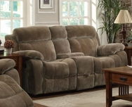 Brown Padded Velvet Upholstered Double Gliding Loveseat 603032