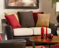 Brown vinly Base Love Seat with Pillow Back in Assorted Colors 501892