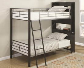 Bunk Bed with Bookshelf Headboard and Roll-Out Table