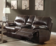 Burgundy Bonded Leather Upholstered Double Reclining  Love Seat with Console 601272