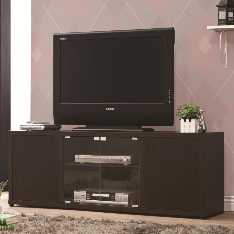 Cappuccino Finish Tv Console With Push To Open Glass Doors