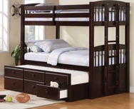 Cappuccino Finish Twin Over Twin Bunk Bed with Trundle Understorage 460071