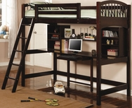 Cappuccino Finish Twin Workstation Loft Bunk 460063