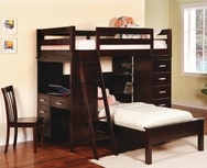 Cappuccino Finish Workstation Twin Bunk Bed 460123