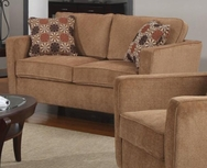 Caramel Colored Chenille Upholstered Loveseat with Slim Track Arms 504052