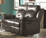 Charcoal Bonded Leather Upholstered Reclining Motion Love Seat with Headrests 601362