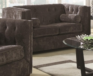 Charcoal Fabric Upholsted Loveseat with Track Arms 504492