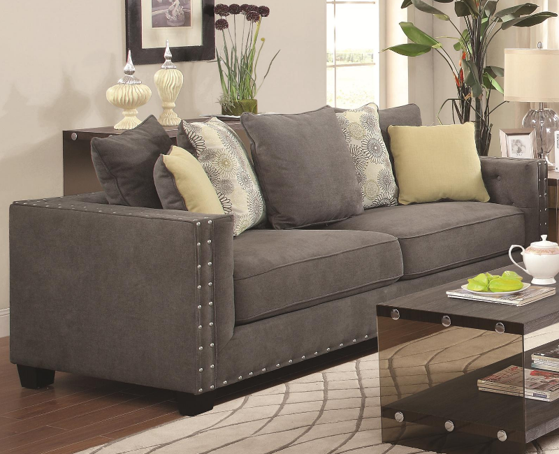 Charcoal Sofa With Nailhead Trim By Coaster Furniture