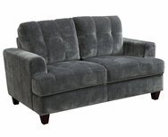 Charcoal Velvet Upholstered Tufted Love Seat 503522