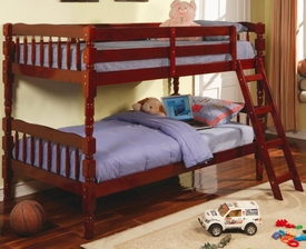Cherry Finish Twin Bunk Bed with Ladder