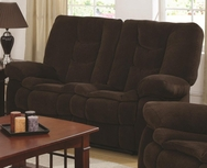 Chocolate Chenille Upholstered Motion Love Seat with Line Tufting 601432