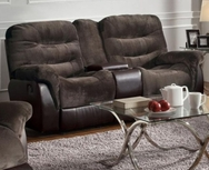 Chocolate Velvet/Brown Vinyl Upholstered Reclining Motion Love Seat 601082