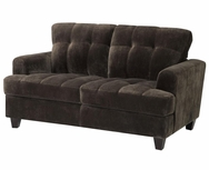 Chocolate Velvet Upholstered Tufted Love Seat 503542