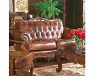 Crafted Tri-Toned Color Rolled Arm Leather Love Seat 500682