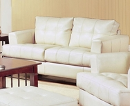 Cream Bonded Leather Loveseat 501692