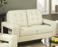Cream Bonded Leather Upholstered Loveseat 504422