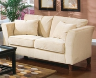 Cream Love Seat with Flair Tapered Arms and Accent Pillows 500232