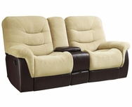 Cream Velvet/Brown Vinyl Upholstered Reclining Motion Love Seat 601072