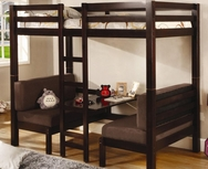 Dark Wood Finish Twin Over Twin Convertible Loft Bed 460263