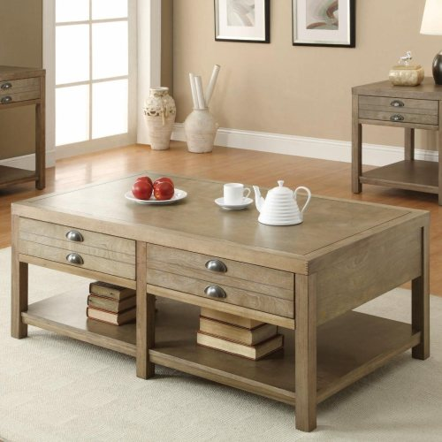Finish Cottage Coffee Table With Two Drawers By Coaster Furniture