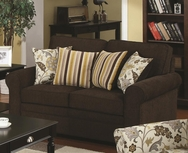 Dual-colored Fabric Upholstered Loveseat with Accent Pillows 504242