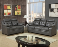 Modern Gray Leather 2-Pc Sofa Set  P-8800SET