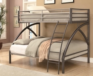 Gunmetal & Silver Finish Twin-over-Full Bunk Bed 460079
