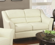 Ivory Bonded Leather Loveseat 504132