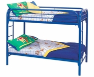 Metal Twin Over Twin Bunk Bed with Built-In Ladders 2256B