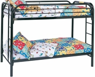 Metal Twin Over Twin Bunk Bed with Built-In Ladders 2256K