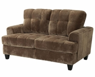 Mocha Velvet Upholstered Tufted Love Seat 503532