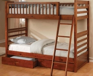 Oak Finish Twin Bunk Bed with Under-Bed Storage 460193