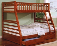 Oak Finish Twin Over Full Bunk Bed 460183