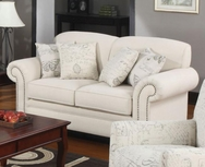 Oatmeal Cream Colored Loveseat with Nail Head Trim 502512