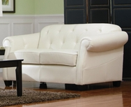 Off White Bonded Leather Loveseat with Button Tufting 502552