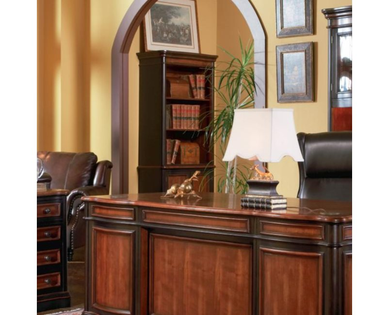 Two Tone Wood Finish Open Bookcase With Lower Cabinet