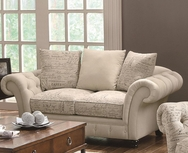 Printed Oatmeal Fabric French Laundry Style Love Seat 503762