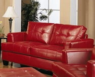 Red Bonded Leather Loveseat 501832
